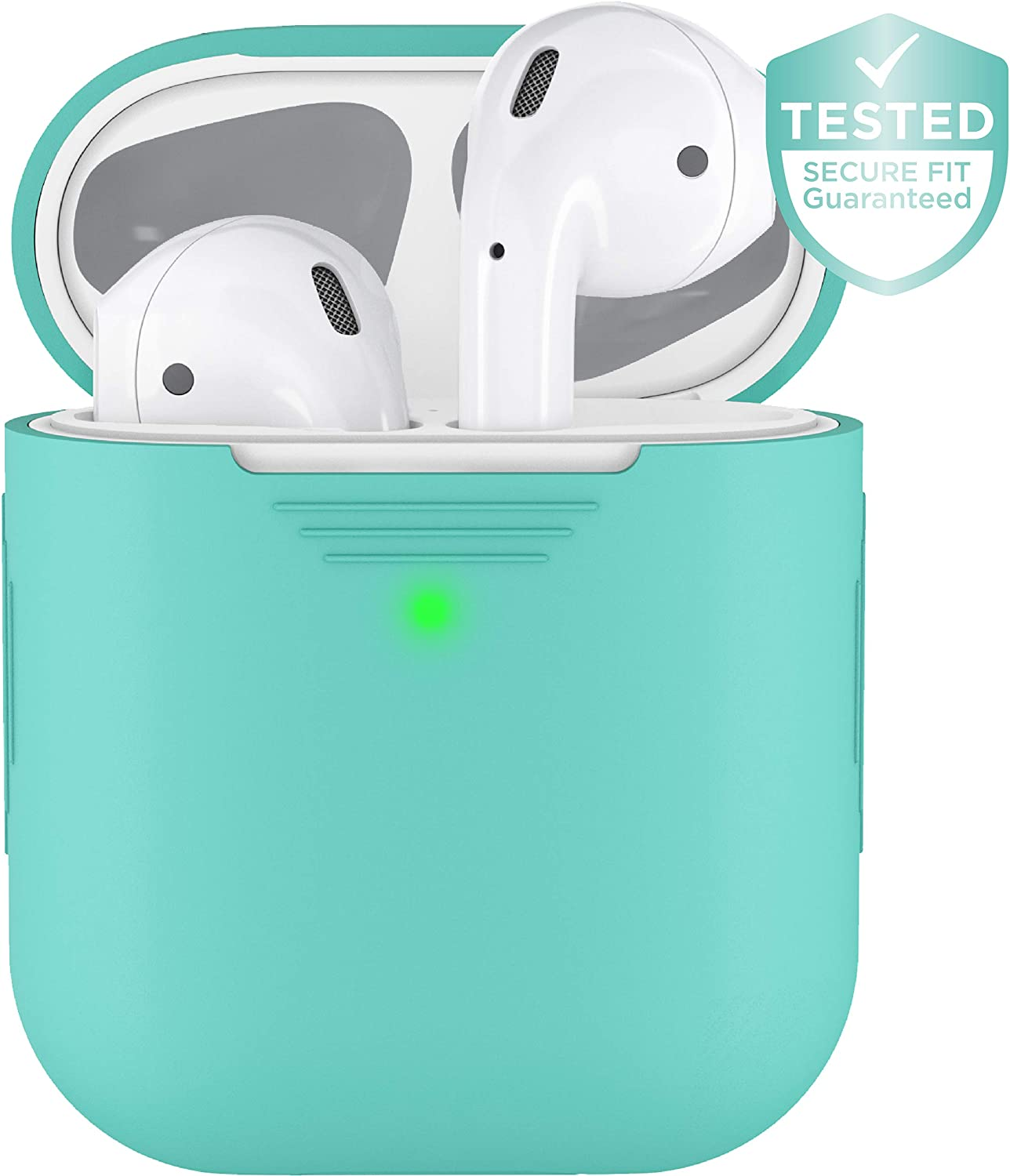 PodSkinz AirPods 2 & 1 Case [Front LED Visible] Protective Silicone Cover and Skin Compatible with Apple AirPods (Diamond Blue)