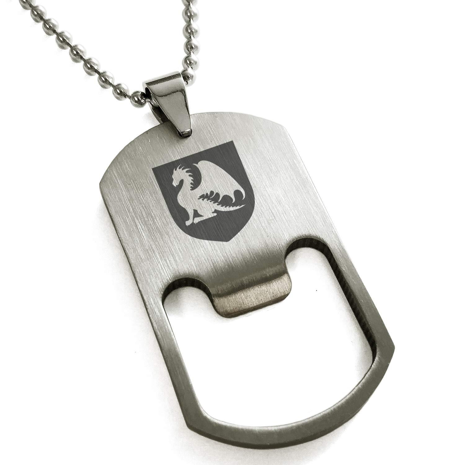 Tioneer Stainless Steel Dragon Guardian Coat of Arms Shield Engraved Bottle Opener Dog Tag Pendant Necklace