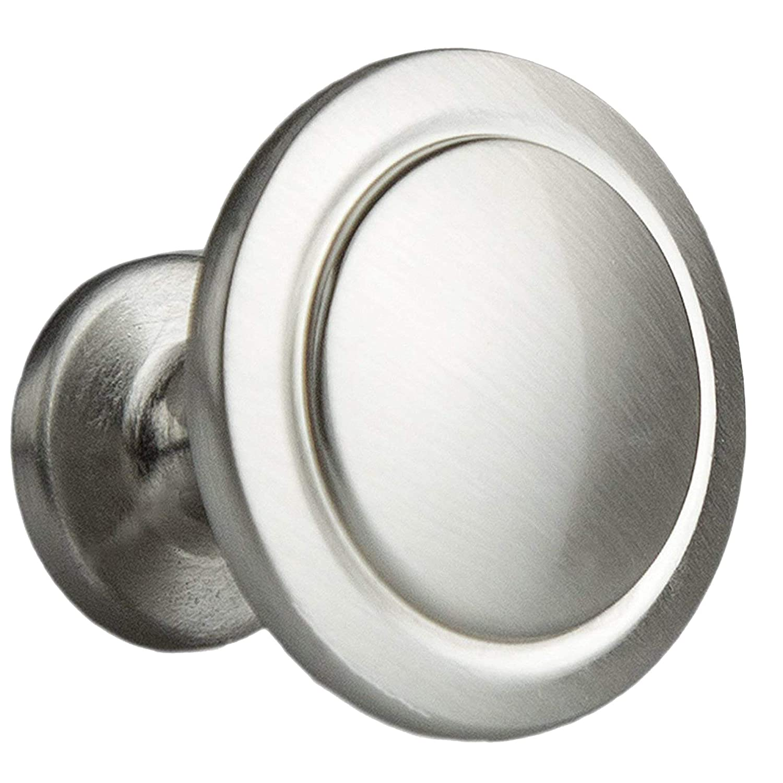 Satin Nickel Kitchen Cabinet Knobs - 1 1/4 Inch Round Drawer Handles - 25 Pack of Kitchen Cabinet Hardware