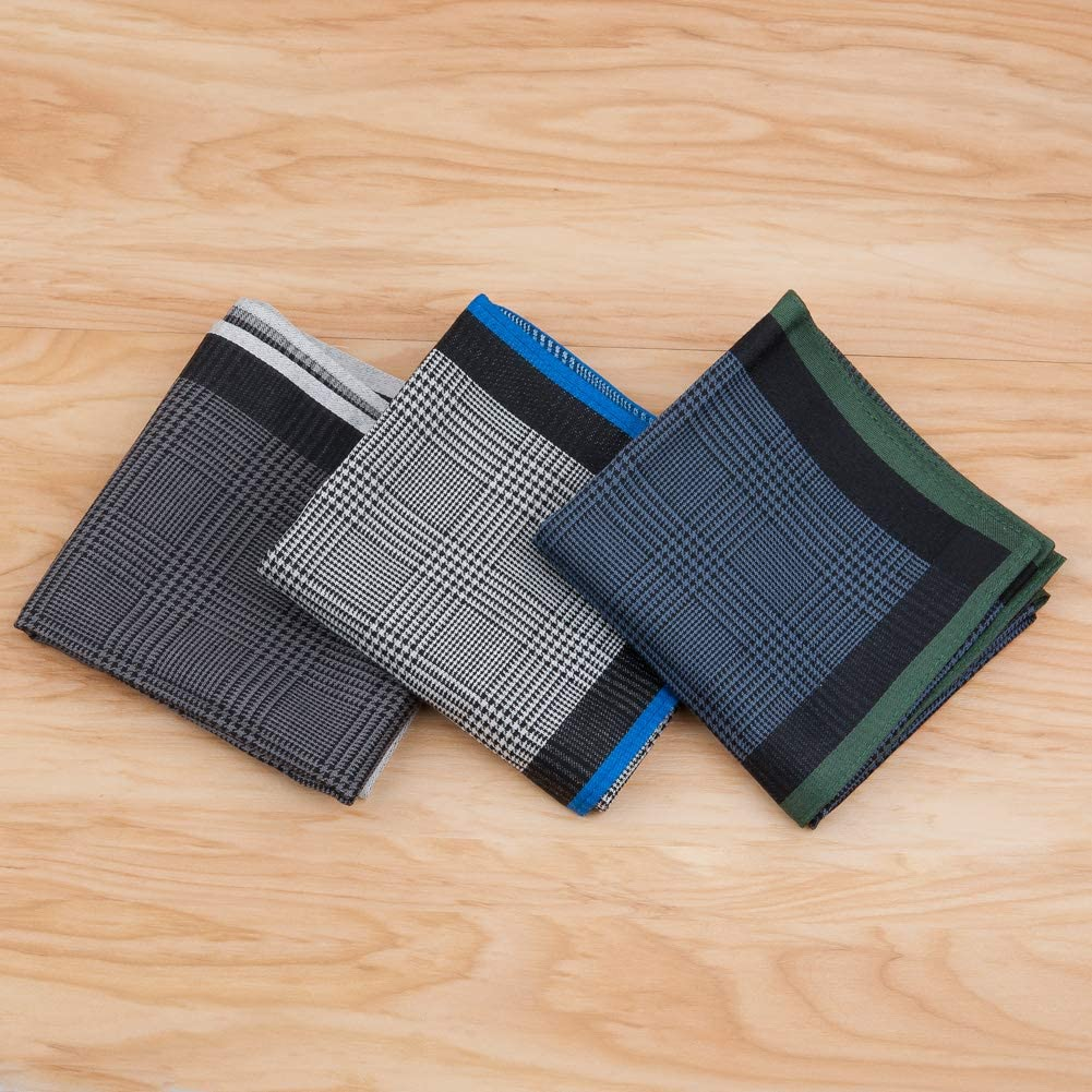 Houlife Mens Handkerchiefs 100/% Cotton 60S Classic Stripe Checkered Pattern Coloured Plaid Hankies for Dad Grandad Fathers Day Gift 6//12 Pieces 43x43cm