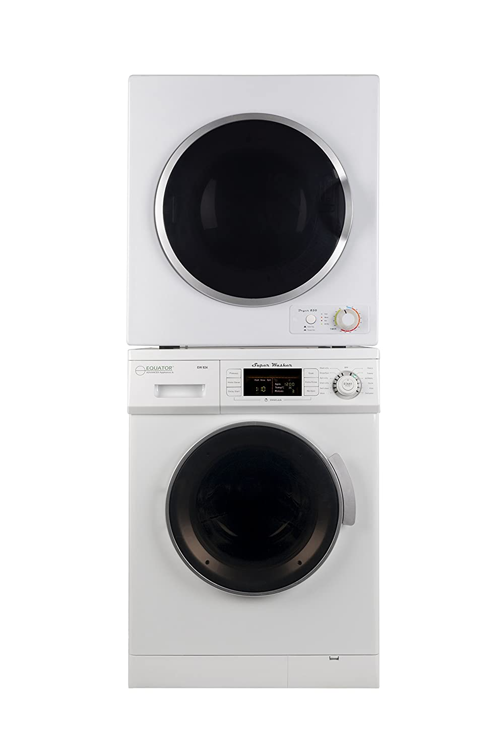 Equator Stackable set of 1.6 cu.ft. Compact Washer and 3.5 cu.ft. Electric Short Dryer in White