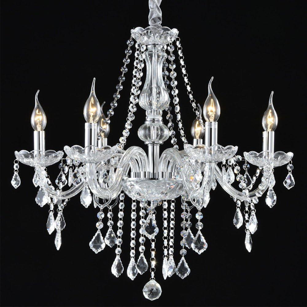 Boshen Crystal Chandelier 6 Lights Fixture Pendant Ceiling Lamp for Dining Room Living Room Decoration