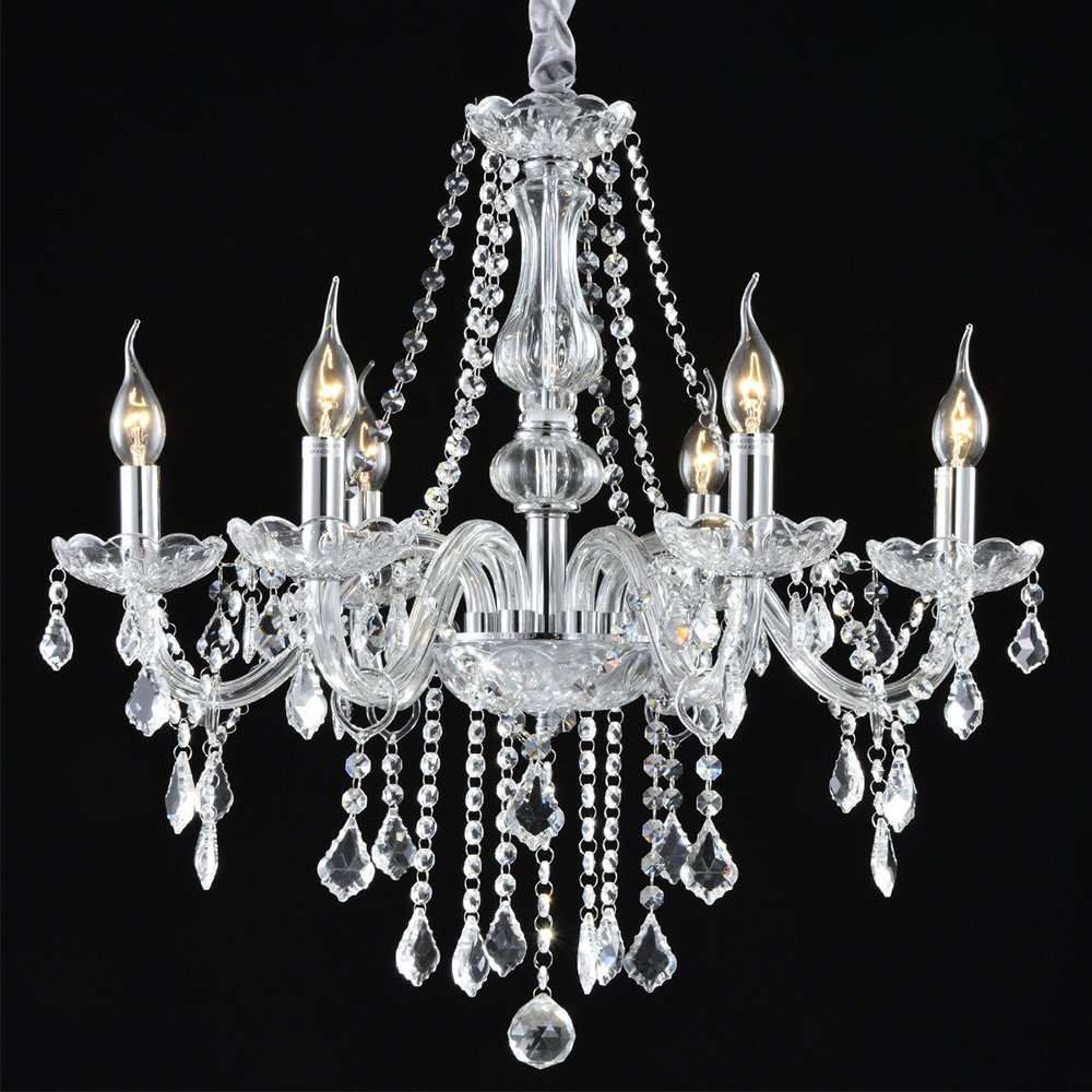 Boshen Crystal Chandelier 6 Lights Fixture Pendant