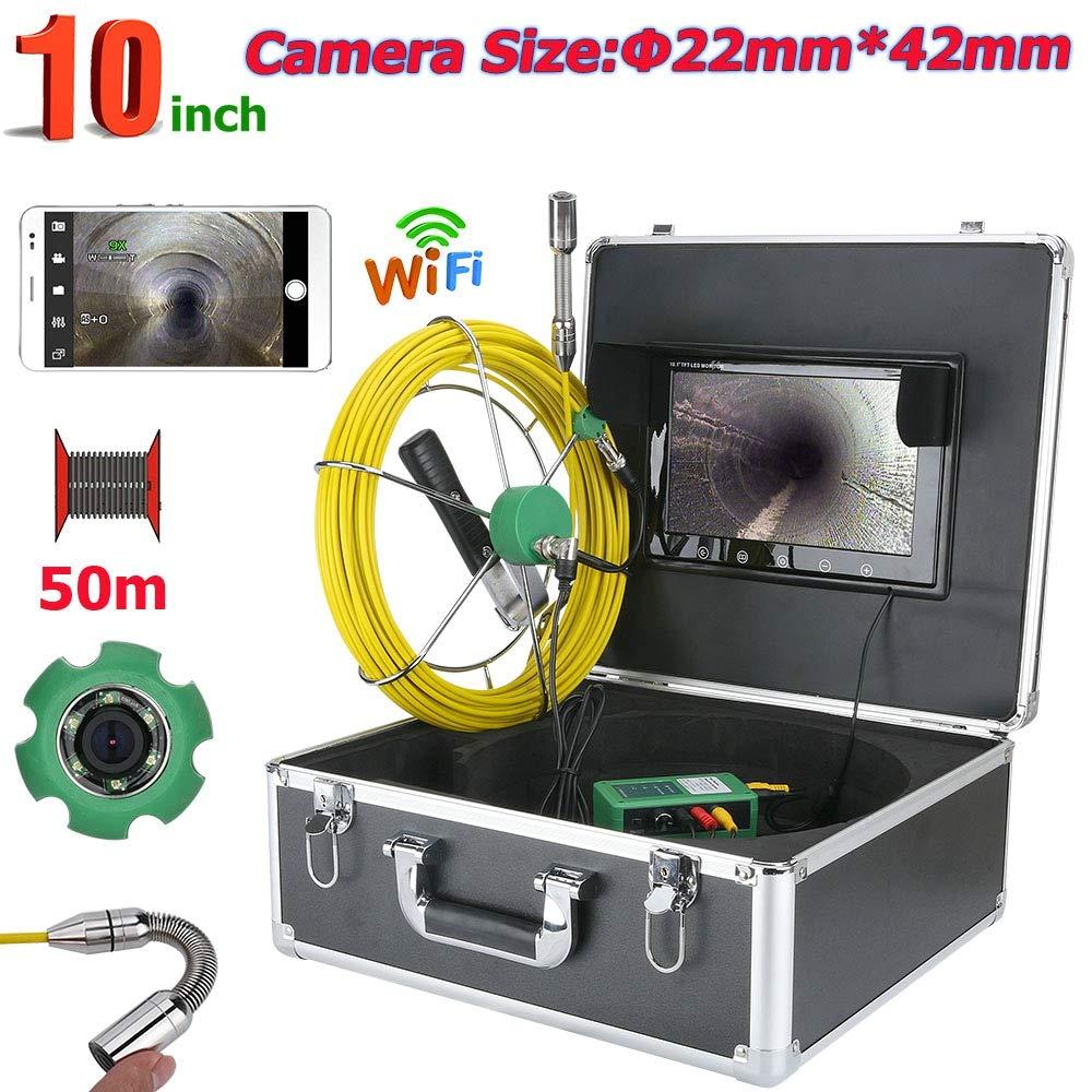 50メートル10インチのwifiワイヤレス22ミリメートル工業用パイプ下水道検査ビデオカメラシステムip68防水1000 tvlカメラで写真を撮る、ビデオ録画