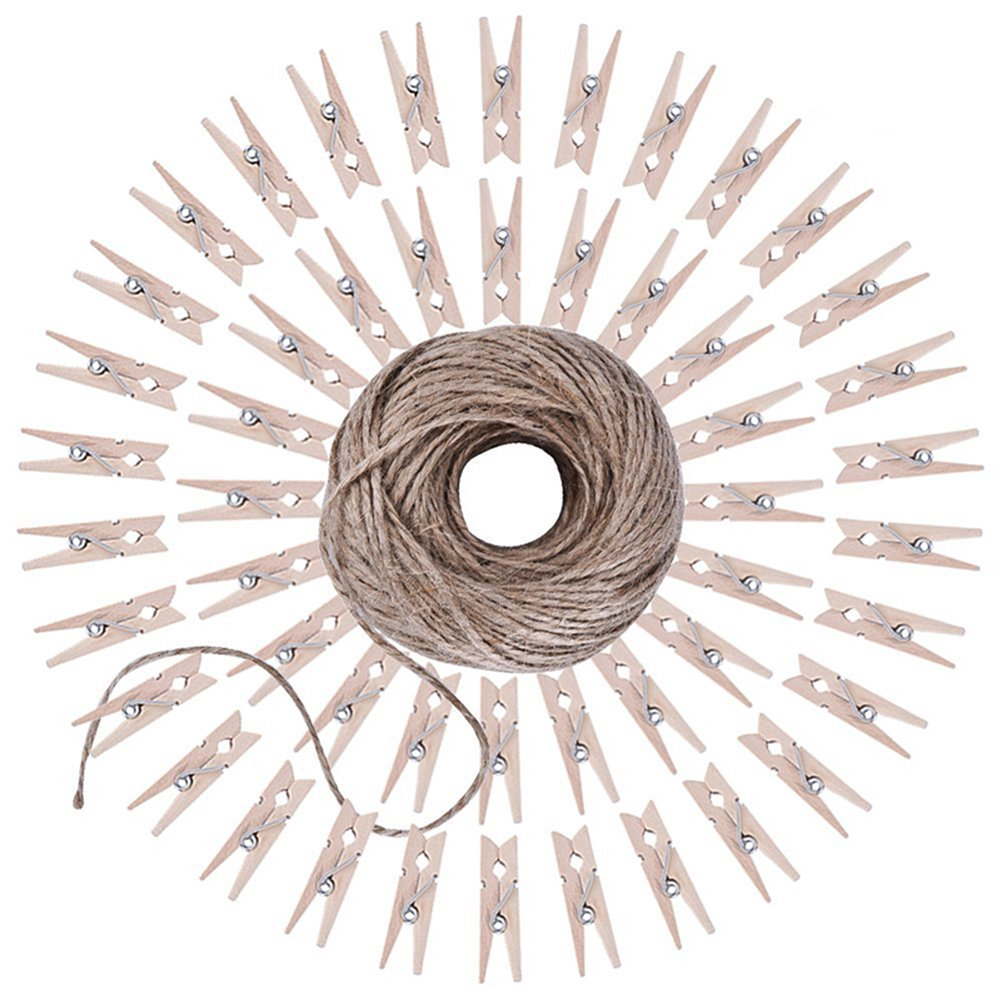 MoGist 50PCS 3.5CM Mini Wooden Pegs Photo Clips with 100M2MM Natural Jute Twine for Arts Crafts DIY Decorations
