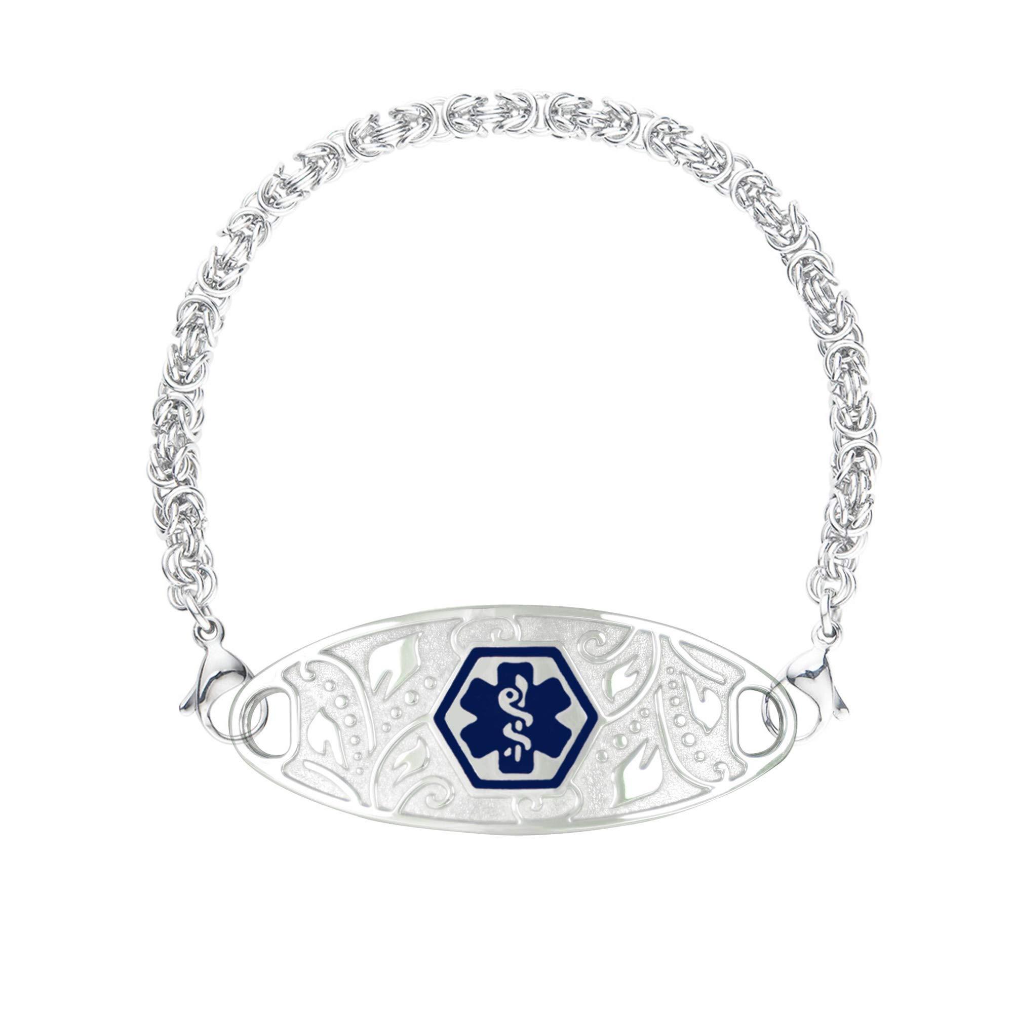 Divoti Deep Custom Laser Engraved Lovely Filigree Medical Alert Bracelet for Women w/Stainless Handmade Byzantine Chain -Deep Blue-6.0''