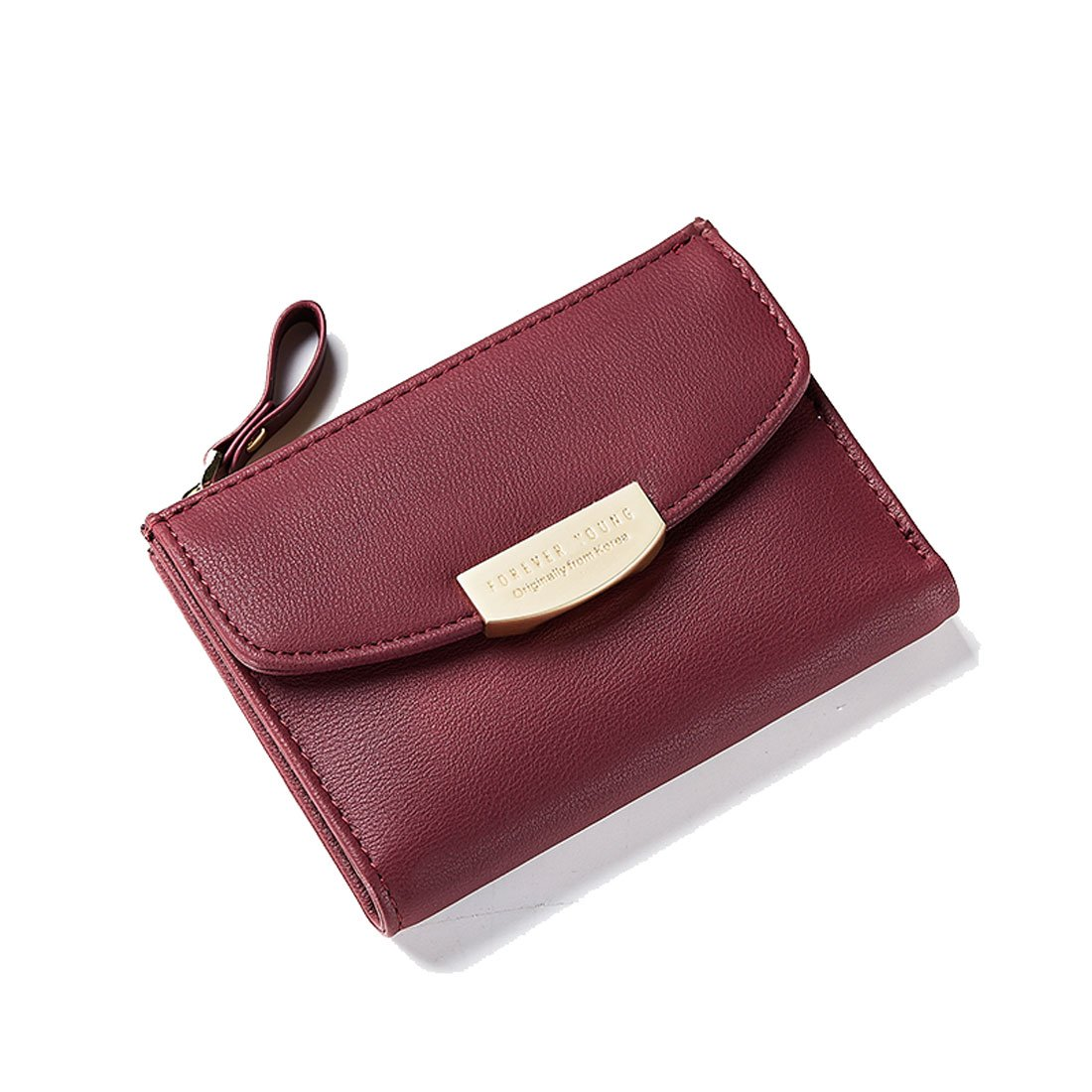 Women Girls Leather Wallet Small Compact Bifold Pouch Mini Purse Credit Card Case Houlder Coin Zipper Pocket Winered