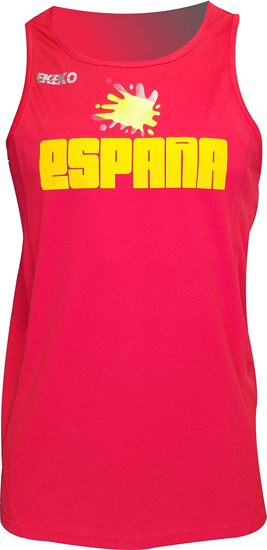 ESPA/ÑA Camiseta Tecnica EKEKO DE Tirantes para Hombre Atletismo y Deportes en General Running Color Rojo
