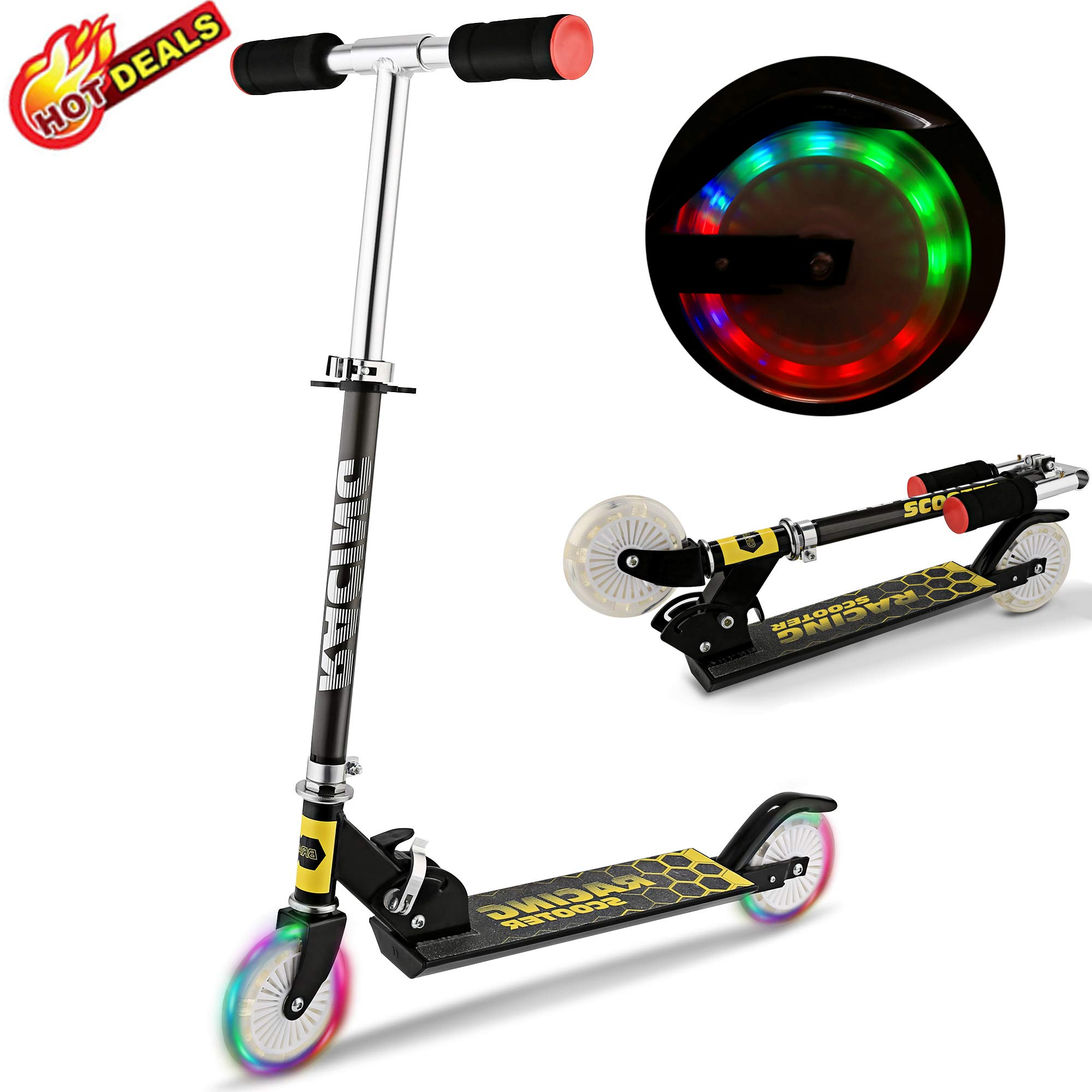 Scooter for Kids, Folding Scooters with LED Light Up 2 Wheels, Adjustable Height, Rear Fender, Kick Scooters for Girls Boys Toddler Ages 3-12 Years, Bearing Capacity 110lb by Aceshin