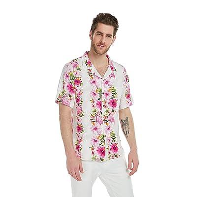 Hawaii Hangover Men's Hawaiian Shirt Aloha Shirt Pink Hibiscus Vine at Men's Clothing store