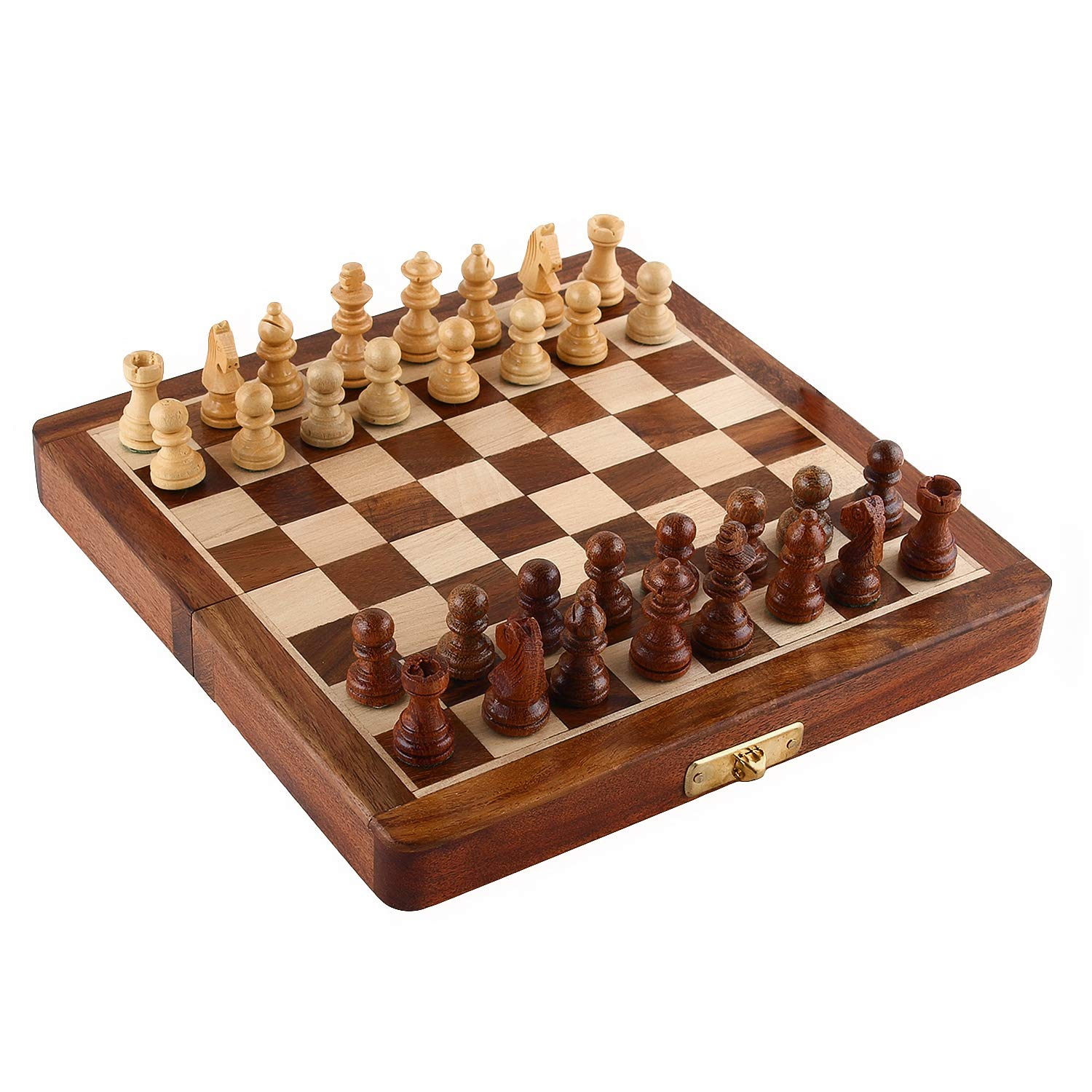 Zap Impex Wooden 7 Inch Magnetic Folding Chess Set-Magnet Closure Zap Impex ®