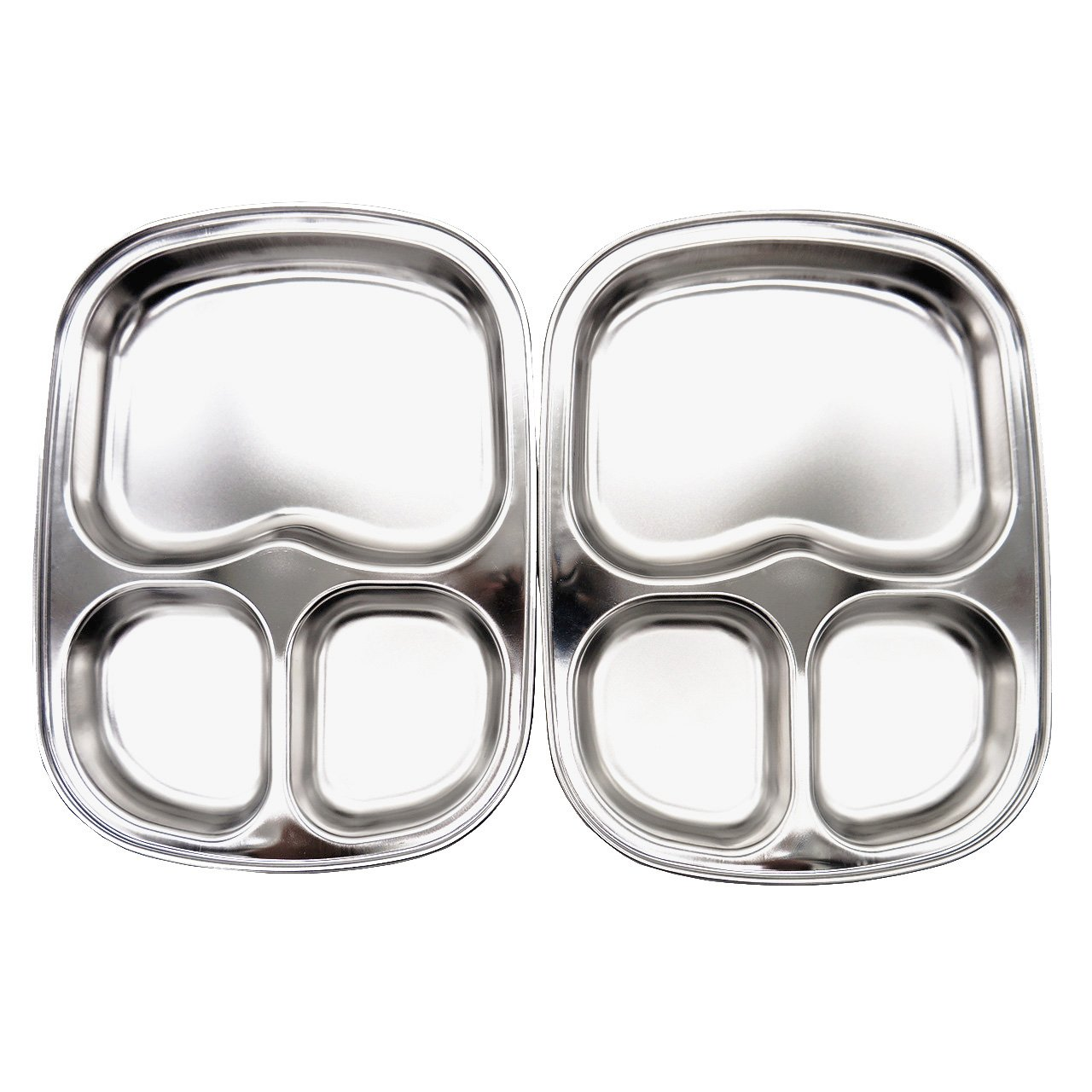 Stainless Steel Divided Plates by KS&E, Kids Toddlers Babies Tray, BPA Free, Diet Food Control, Camping Dishes, Compact Serving Platter, Dinner Snack, 3 Compartment Plate Silver, Set of 2