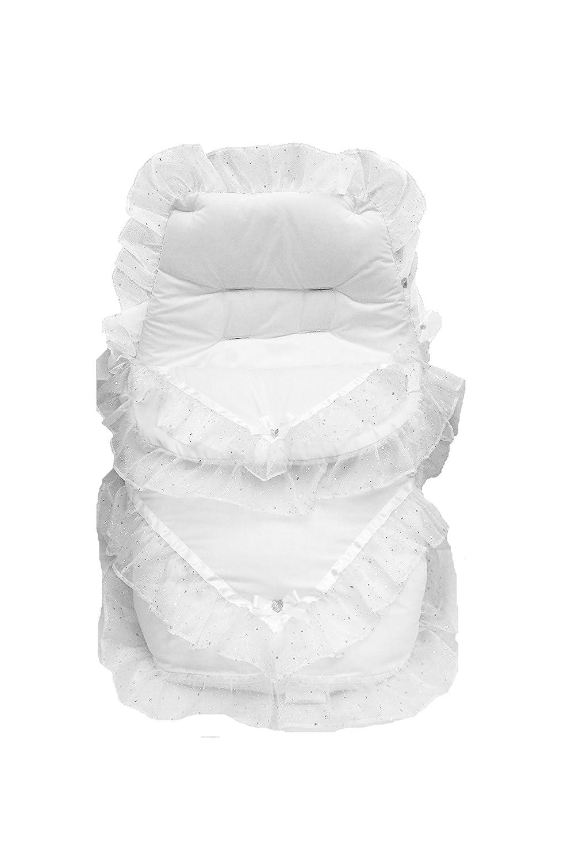 Gorgeous carrito de bebé volante de organza saco/maletero con lazo y ...