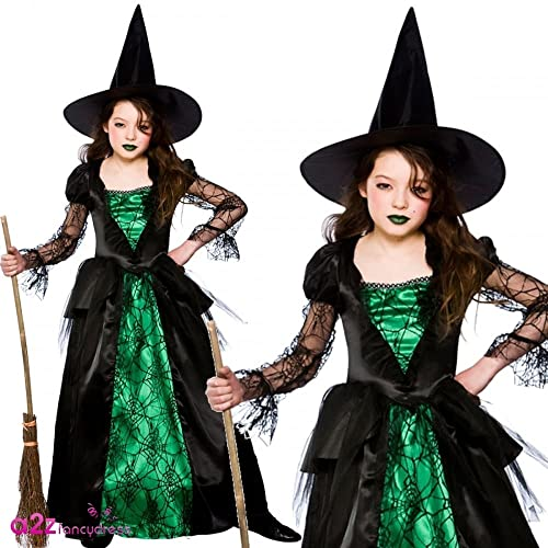 Emerald Witch (Deluxe) - Kids Costume 5 - 7 years  sc 1 st  Amazon UK & Childrens Girls Wicked Witch Costume for Halloween oz Eastwick Fancy ...