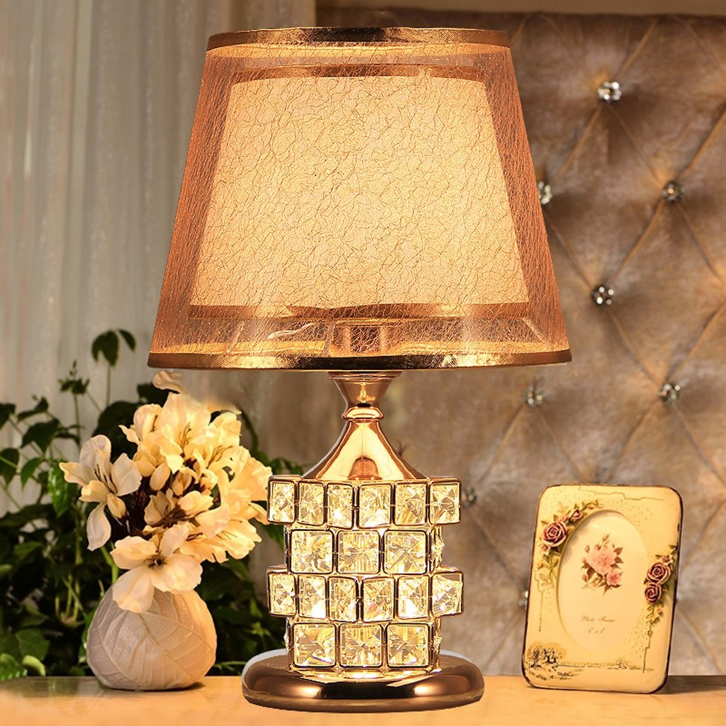 Table Lamp Coffee Table Lamp- 41cm Modern Bedroom Bedside Lamp Crystal European Luxury Wedding Table Lamp Creative Cube Warm Bedroom (Color : Gold)