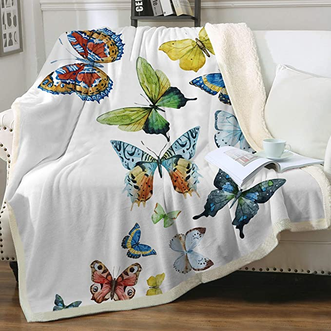 Butterfly Wings Blue Black 2 Personalized Baby Sherpa Blanket soft minky fleece Sherpa blanket Butterflies and Wings