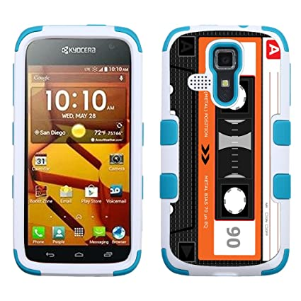 One Tough Shield Hybrid 3-Layer Phone Case (White/Teal) for Kyocera Hydro  Icon C6730, also fit Hydro Life C6530 - (Cassette Orange)