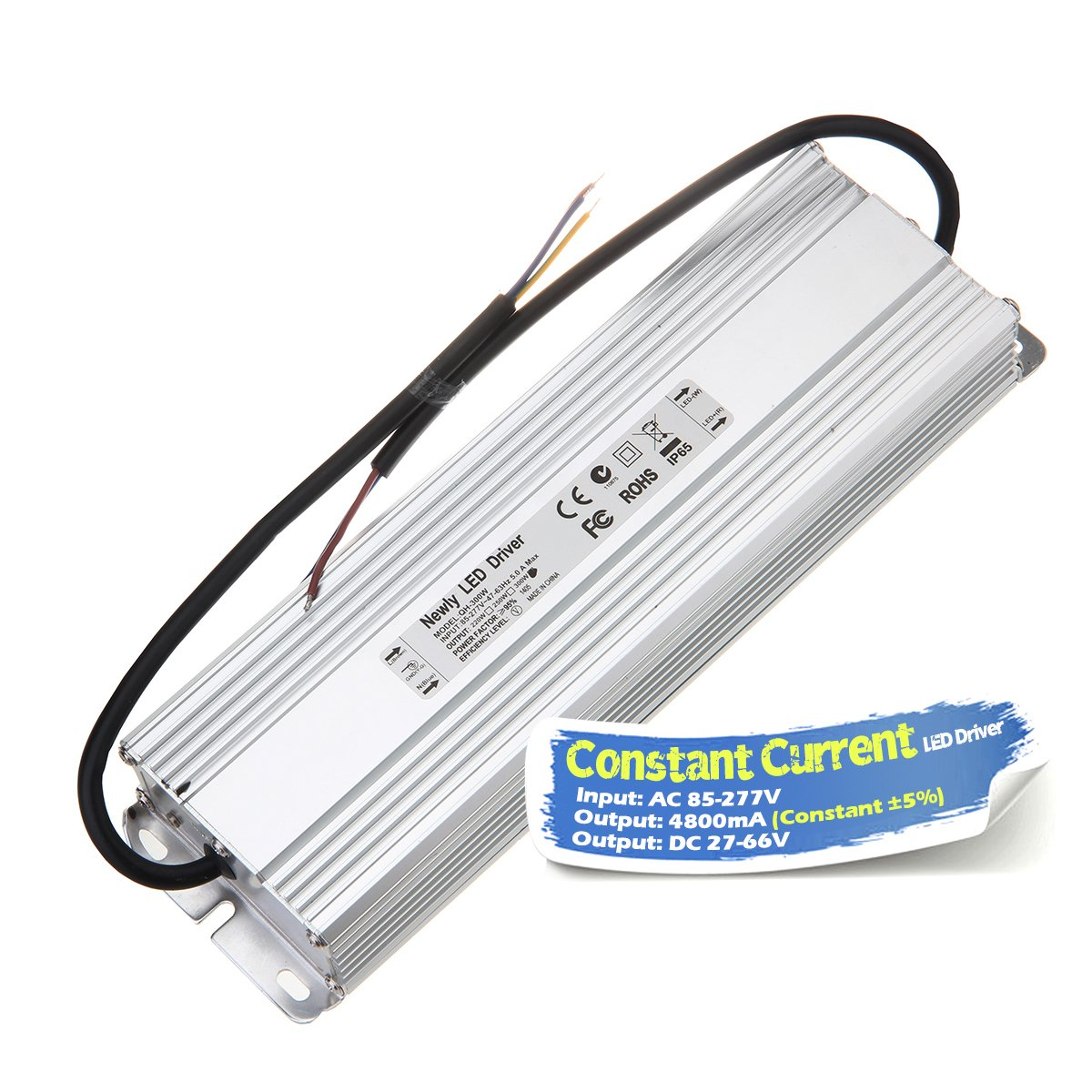 Chanzon LED Driver 4800mA (Constant Current Output) 27V-66V (In:85-277V AC-DC) (10-20)x16 160W 300W 320W IP67 Waterproof High Power Supply 4800 mA Lighting Transformer for 300 W COB Chips (Aluminium)