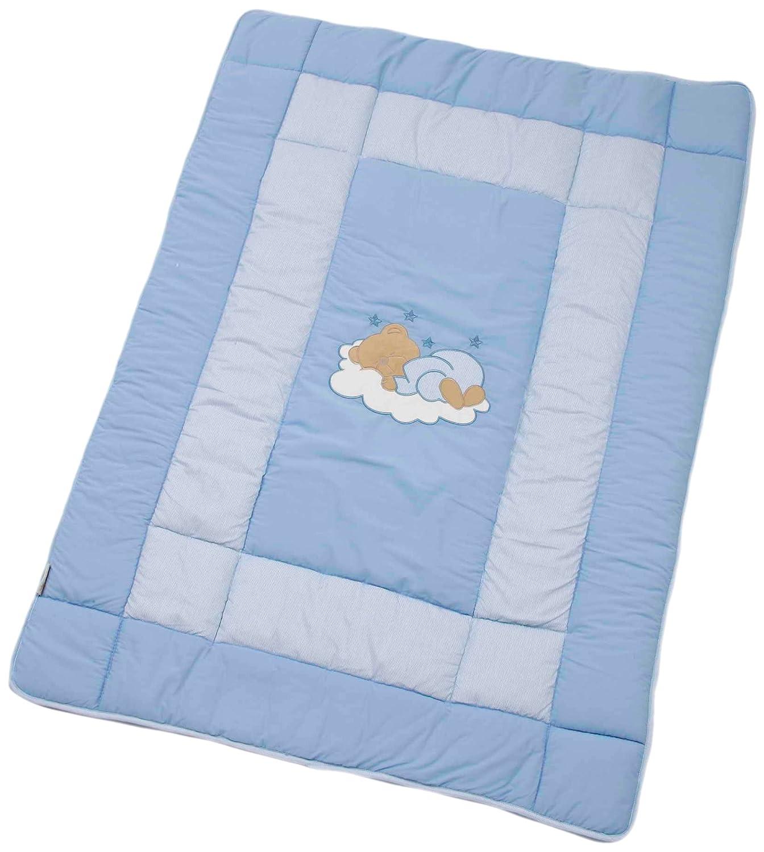 Easy Baby 46181 Crawling Blanket 150 x 150 cm Sleeping Bear Motif bluee