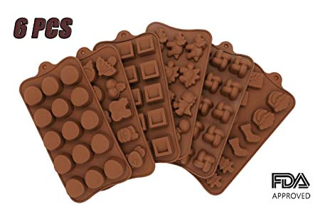 Amazon.com: PONECA Silicone Candy Molds 6 Pack - Silicone Molds For Fat Bombs - Candy Molds Silicone - Chocolate Molds Silicon Molds Silicon Mold Hard Candy ...