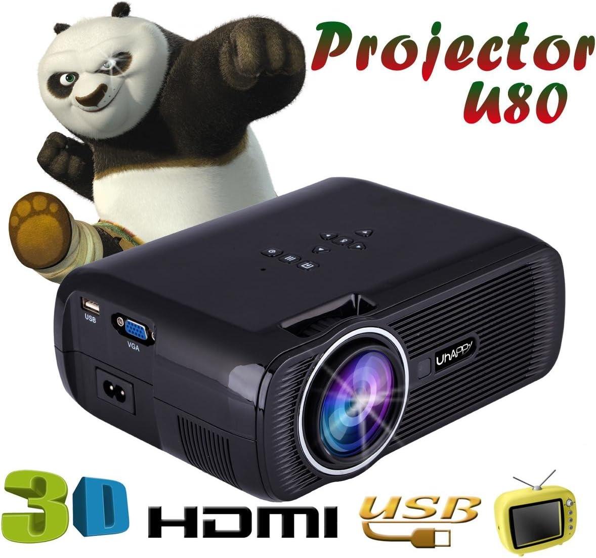 UHAPPY El mini proyector HD 3D portátil de 3000 lúmenes apoyan ...