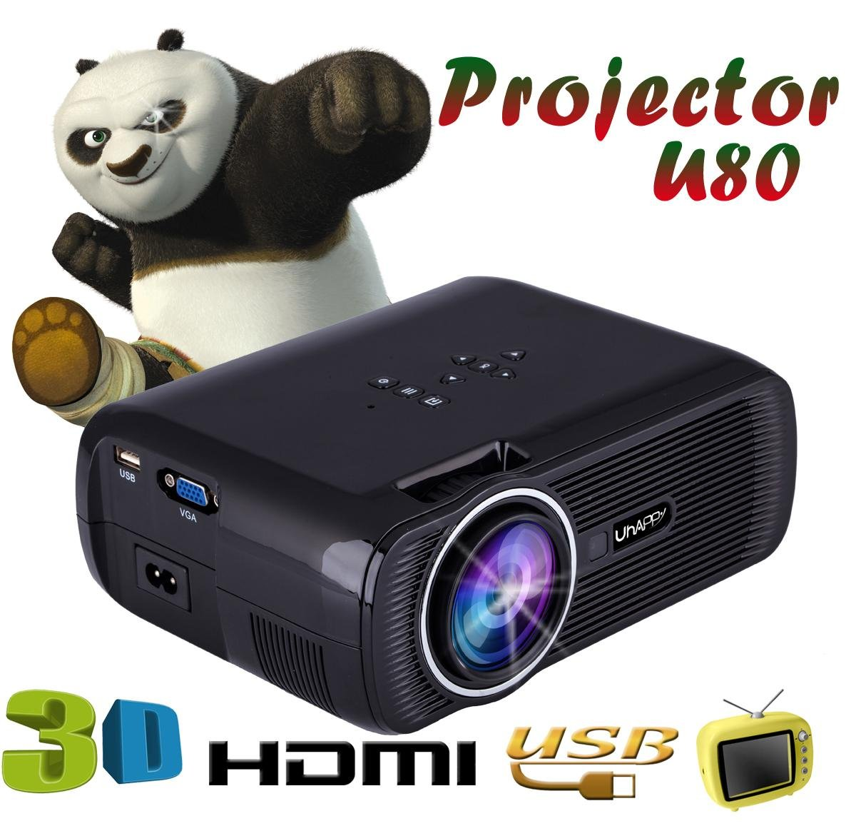 UHAPPY LED high-definition portable mini projector 3D 1000 lumens support 20000 hours LED life , BLACK