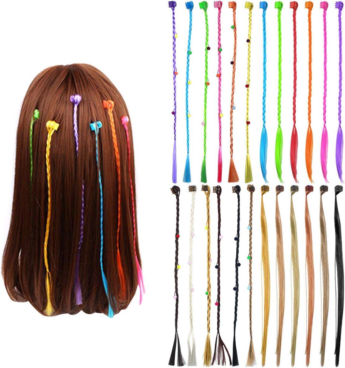 24 Piezas Neón Extensiones Colores Niña, Extensión de Cabello Trenzas Postizas Accesorios de Peinado de Cabello con Mini Clips de Pelo para Cosplay El ...