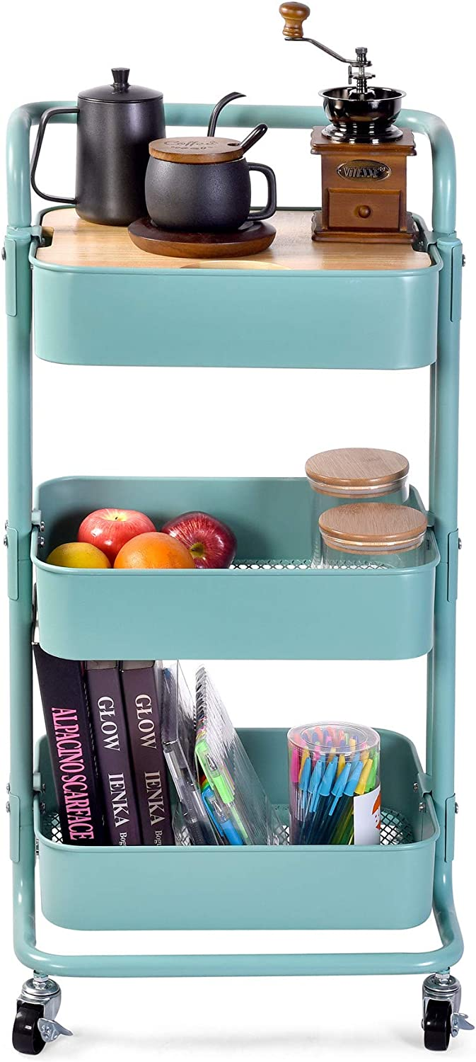 Movable Storage Utility Rolling Cart, Rolling End Table for Organization, Fit for Office Home and Kitchen, Blue