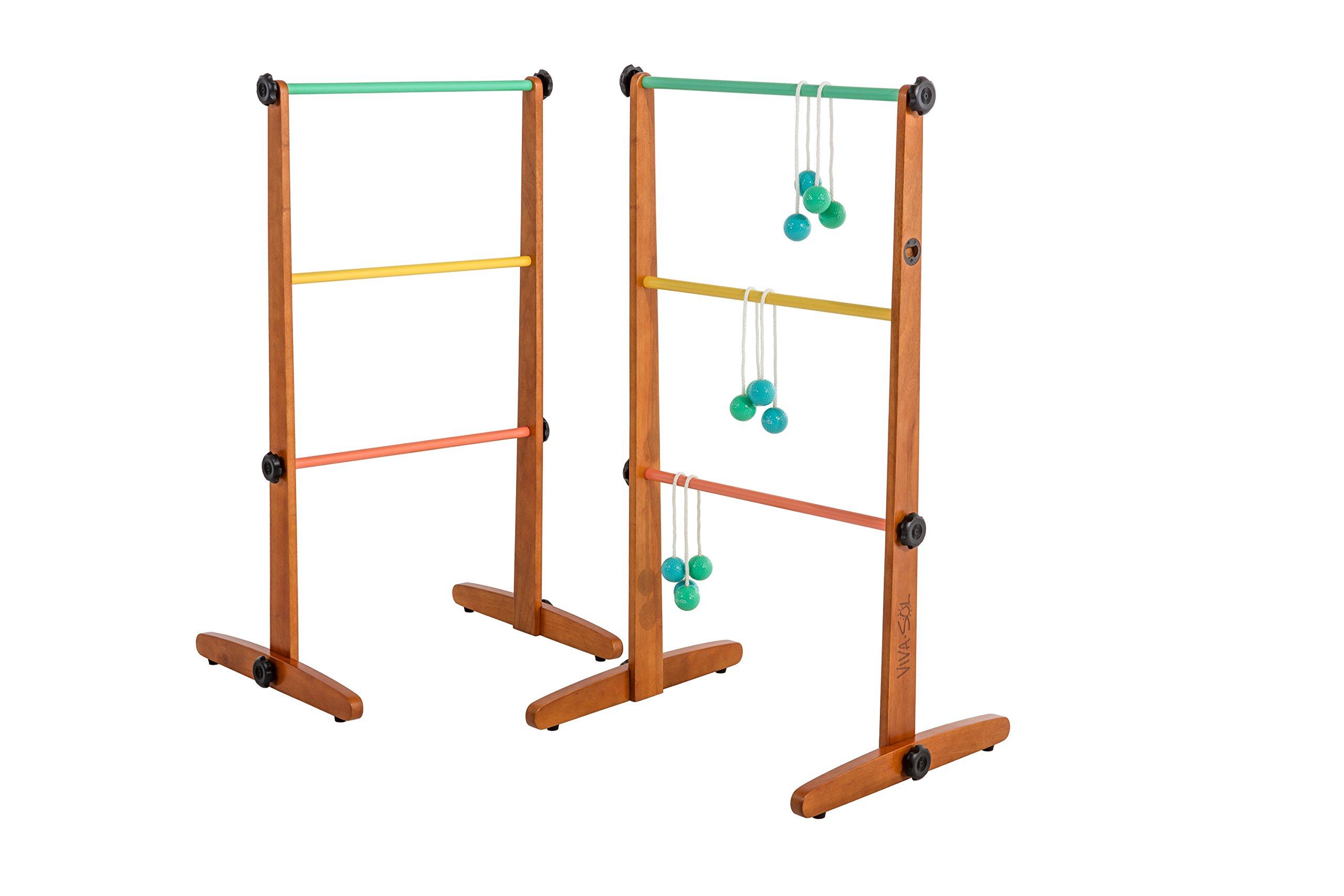 Viva Sol Premium Outdoor Ladderball Game Includes Two Ladder Target and Six Golf Ball Bolas by Viva Sol