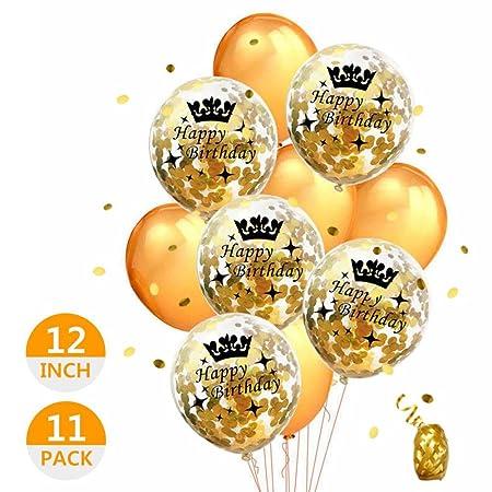 FOONEE 5 Globos de Confeti Dorados, 5 Globos de cumpleaños ...