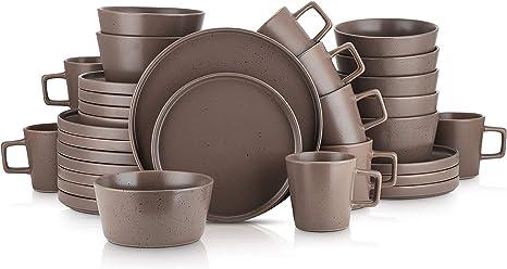 Black Matte Service For 4 Stone Lain Coupe Dinnerware Set