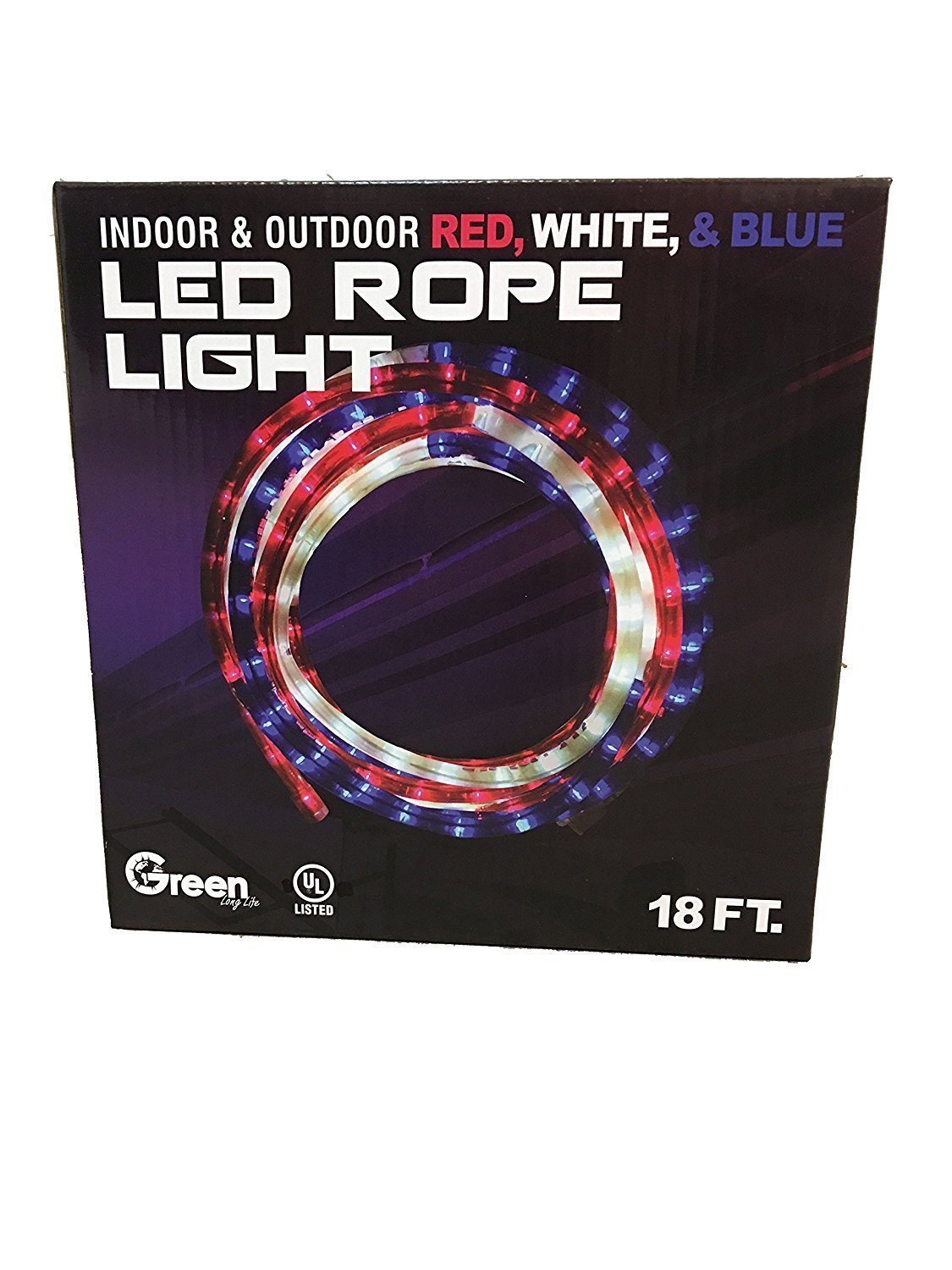 Green longlife 18 feet red white and blue decorative extendable green longlife 18 feet red white and blue decorative extendable led rope light rv july 4th memorial day patriotic lights 1 pack aloadofball Images