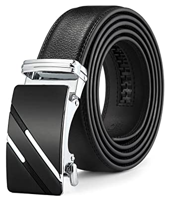 b5defde00ac788 QISHI YUHUA Men's Leather Ratchet Dress Belt with Automatic Buckle ...