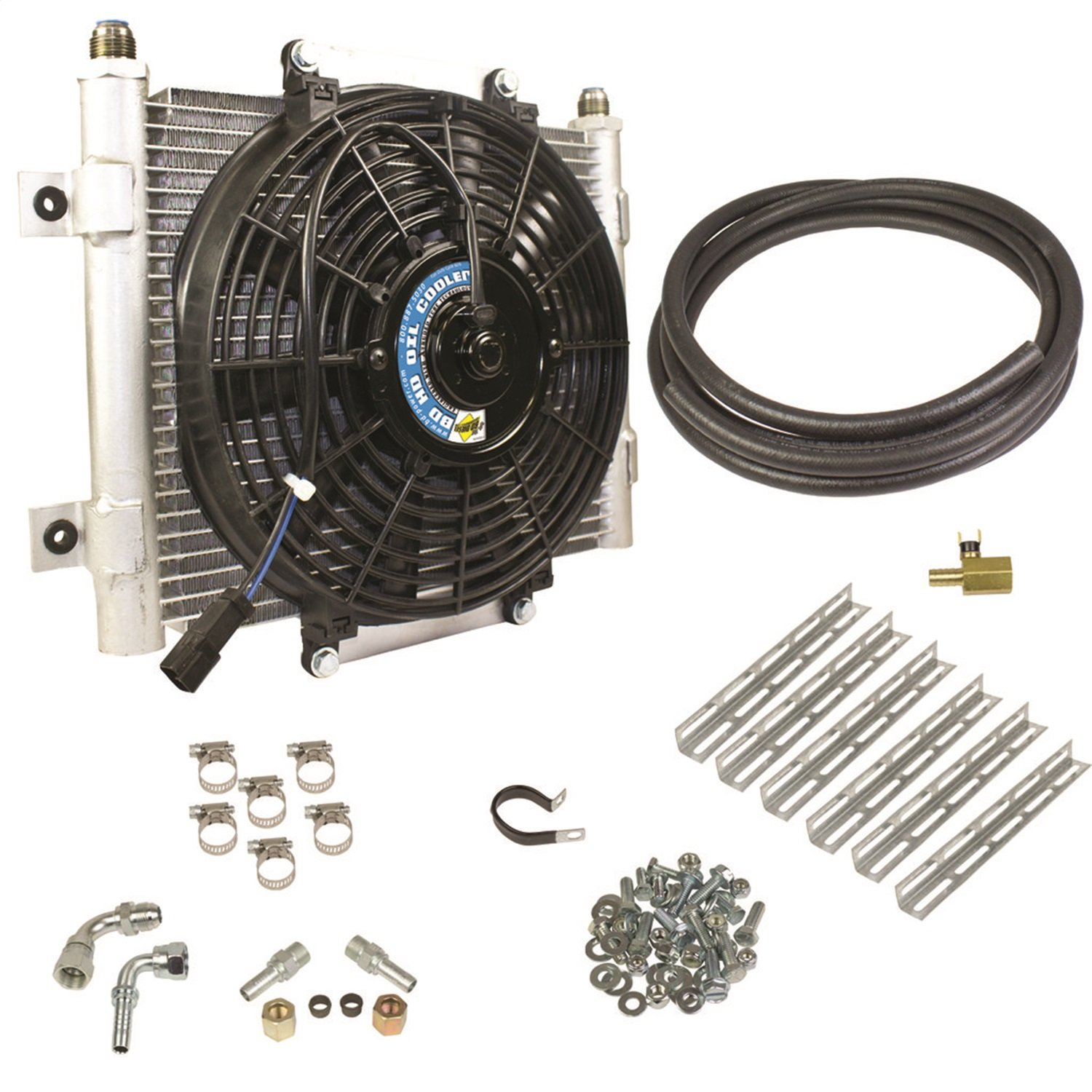 BD Diesel 1030606-5//8 Xtruded Auxiliary Transmission Oil Cooler Kit 5//8in Tubing Incl Cooler//Brackets//Wiring Harness//Fittings//Temp Sensor//Sensor Adapter//Hoses//Bypass Frt//Rear Tube Eliminator//Hdw Xtruded Auxiliary Transmission Oil Cooler Kit
