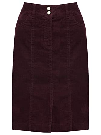 ef69623c00039a M&Co Ladies Cotton Stretch High Waisted Knee Length Cord Pencil Skirt Berry  Red 18