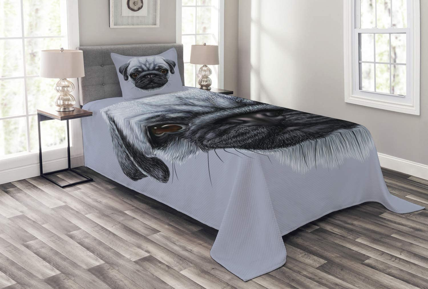 Ambesonne Pug Bedspread, Realistic Style Detailed Young Dog with Giant Eyes Pure Breed Pug Blue Backdrop, Decorative Quilted 2 Piece Coverlet Set with Pillow Sham, Twin Size, Slate Blue