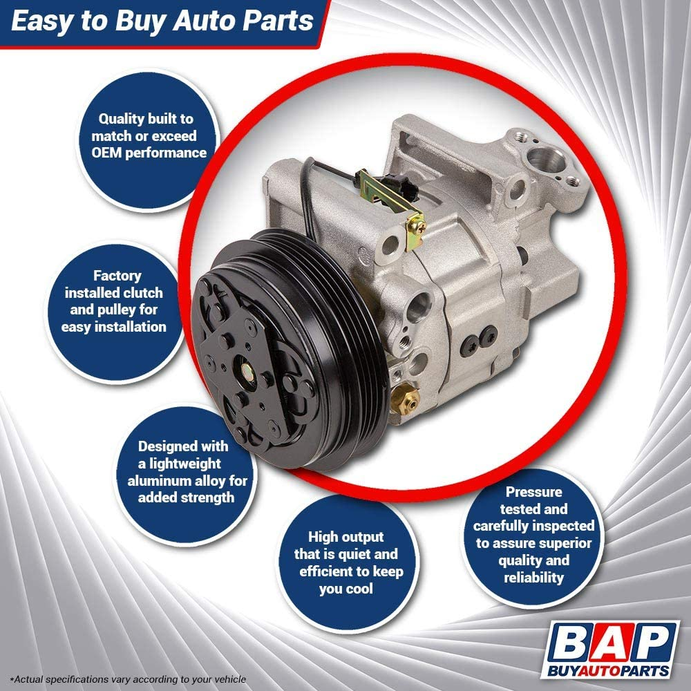 AC Compressor /& A//C Clutch For Ford F-150 F150 Transit Van Mustang GT /& Shelby GT350R BuyAutoParts 60-03215NA New