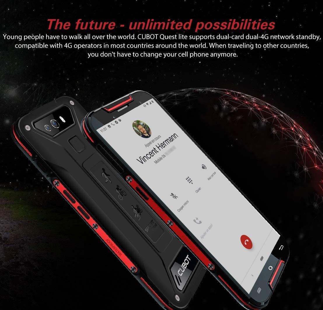 CUBOT Quest Lite Telephone Portable Débloqué Incassable 4G, Smartphone Résistant Pas Cher 2019 Android 9.0 Batterie 3000mAh, 3+32 Telefones Etanche IP68 Imperméable aux Chocs et Poussière NFC-Rouge
