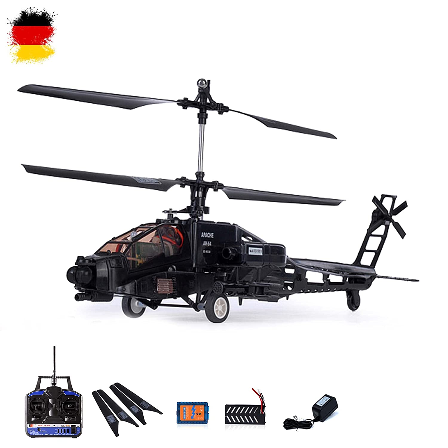4 Kanal Apache AH-64 RC ferngesteuerter Hubschrauber Helikopter-Modell mit Gyro-Technologie! Ready-to-Fly