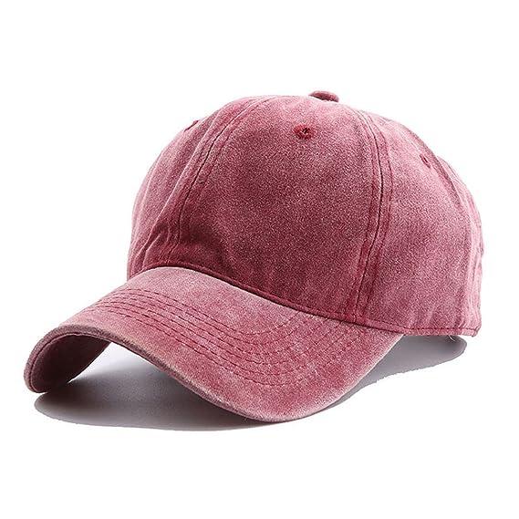 Tuopuda Gorra de Béisbol Classic Unisex Ajustable Washed Teñido Gorras de  Béisbol de Algodón Sombrero de Deportes al Aire Libre (Rojo)  Amazon.es   Ropa y ... f072c0b15af