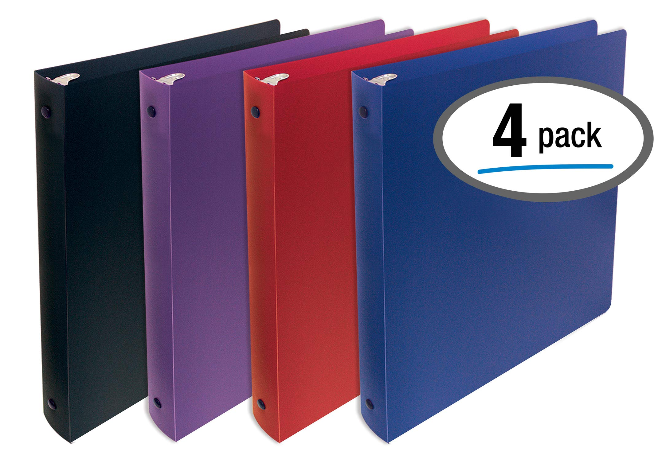 Better Office Products, 3 Ring Poly Binder with Pocket, 1 inch, Letter Size, 4 Pack-Red, Blue, Purple, and Black