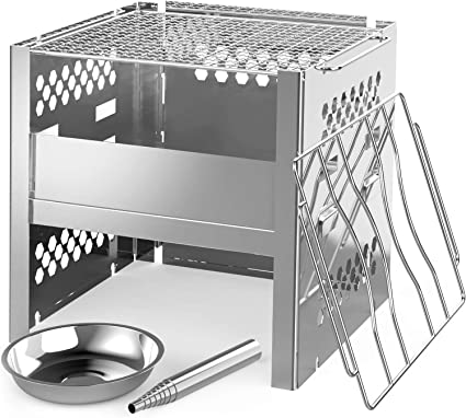 Outdoor Camping BBQ Wood Stove Windshield Charcoal Stove Stainless Steel