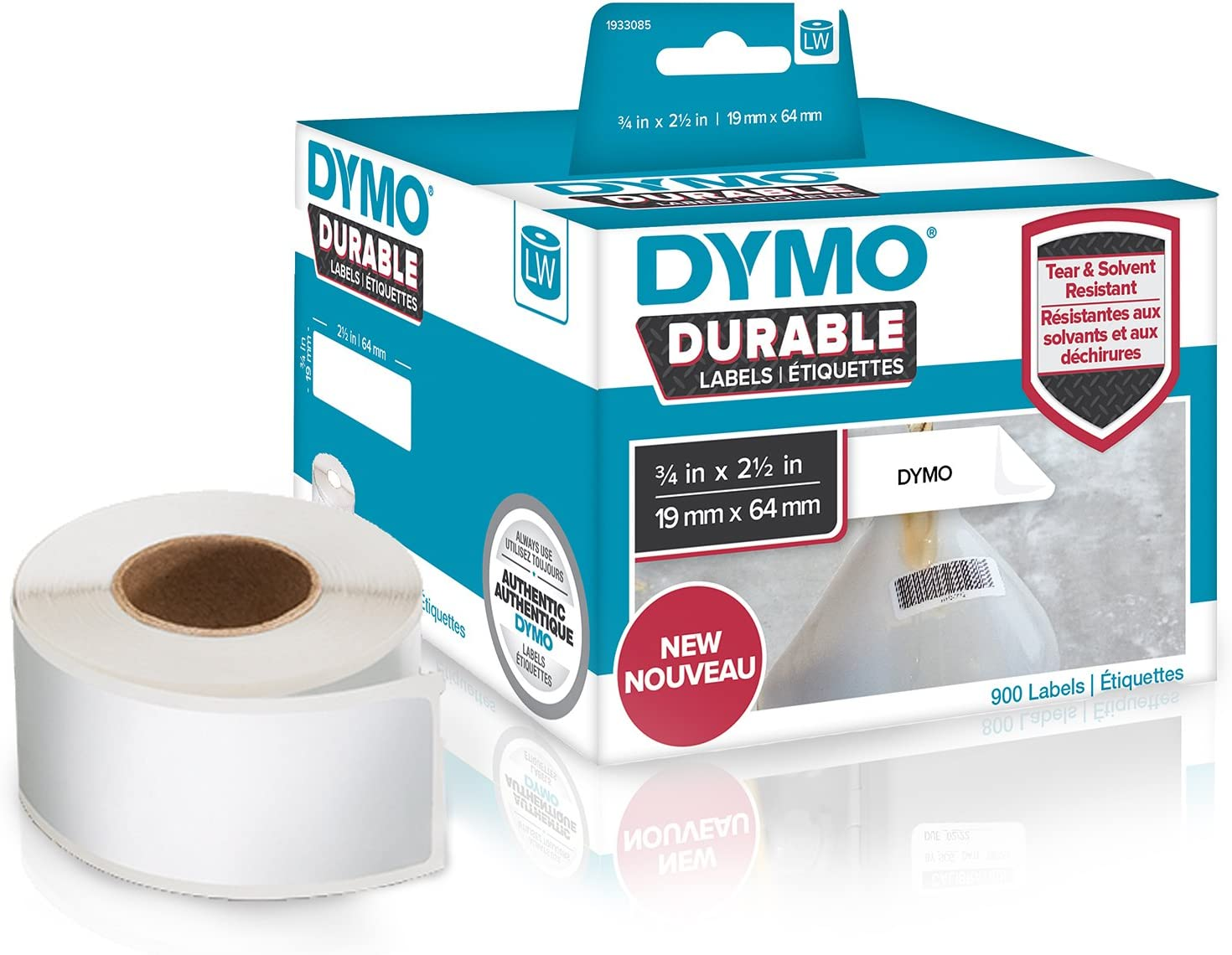 57 x 32 mm blanc 2/rouleaux de 350 DYMO /Étiquettes industrielles durables pour imprimantes /à /étiquettes LabelWriter