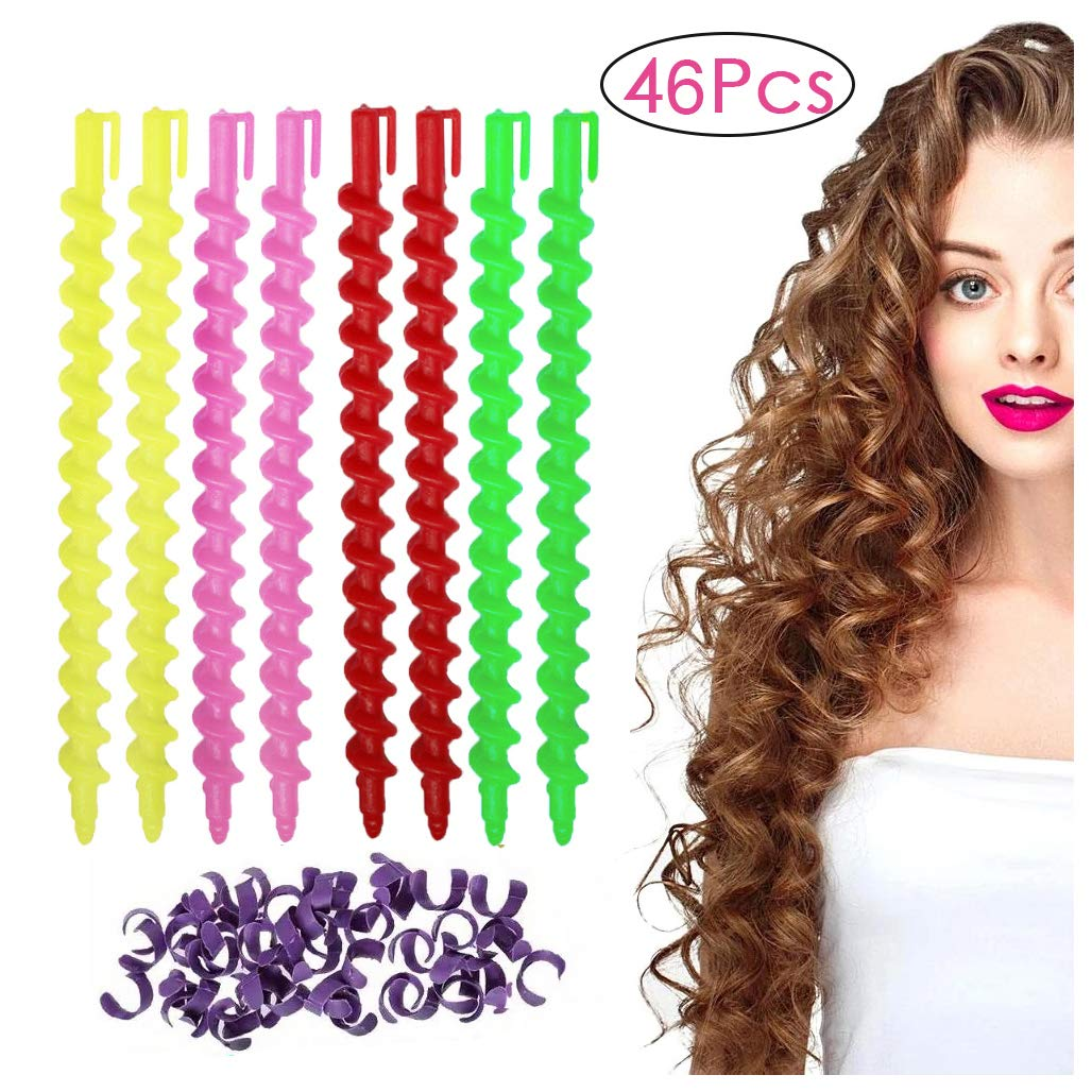 46 Pieces Plastic Spiral Hair Perm Rod Spiral Rod Barber Hairdressing Hair Rollers Salon Tools for Women Girls Random Colors