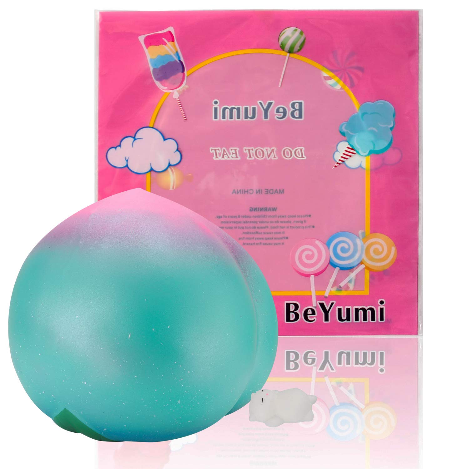 BeYumi Slow Rising Toy, 10 Inch Jumbo Galaxy Peach Squishy + 1 Pcs Mini Sleeping Cat Cream Scented Simulation Cute Fruit Squeeze Toys for Collection Gift, Decorative Props Large or Stress Relief by BeYumi (Image #1)