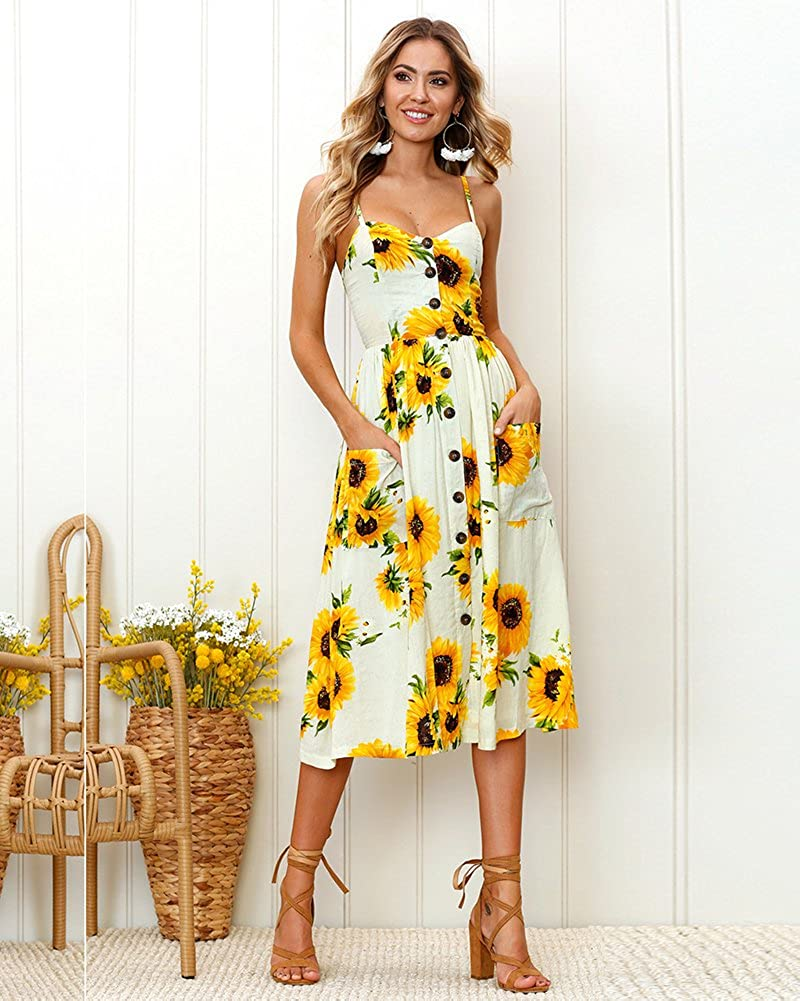 af2a794fed Aofur Womens Casual Sleeveless Holiday Strappy Button Pocket Ladies Summer  Beach Midi Swing Sun Dress with Button Pocket (12, Yellow): Amazon.co.uk:  ...