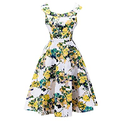 f623093be4 CharMma Women s Vintage Rockabilly Swing Spring Floral Print Party Prom  Dress (Small