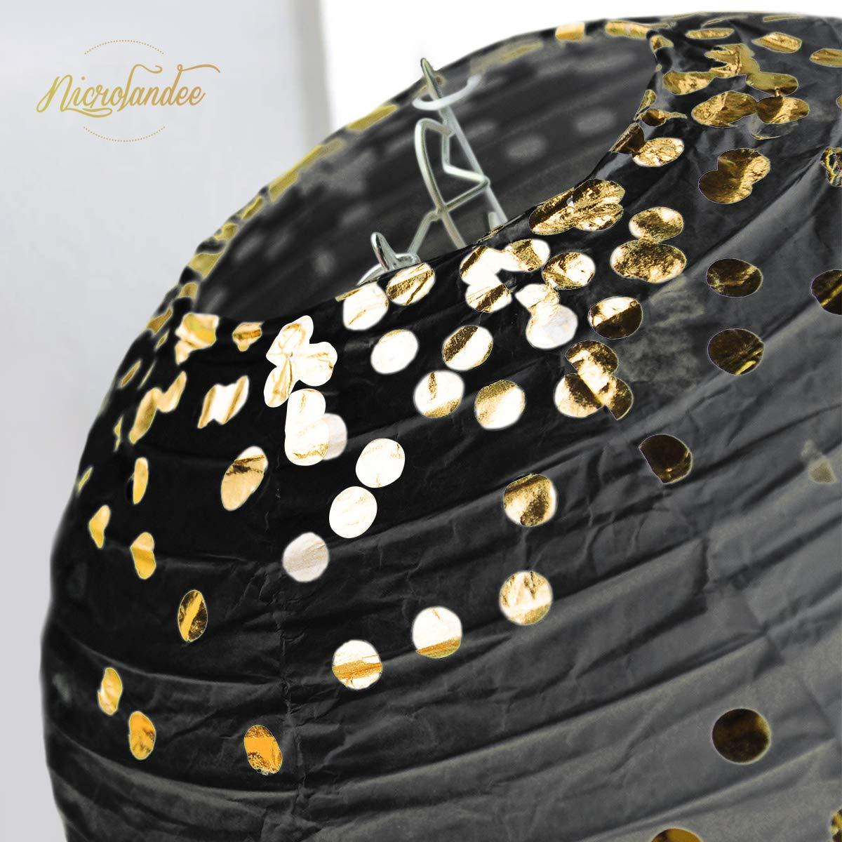 NICROLANDEE Black Gold Metallic Glitter Paper Lantern Decorations with Gold Foil Metallic Fringe Curtains for Graduation Wedding Bridal Shower Hen Bachelorette Birthday Anniversary Backdrop Decor by NICROLANDEE (Image #6)