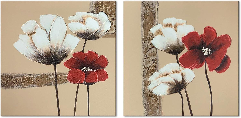 Cuadros de flores roja y blancas, moderno, Giclée, enmarcado, lienzos, impresión, ilustraciones, 2paneles, pinturas al óleo abstractas, florales, impresión de fotos sobre lienzo, arte de pared para d