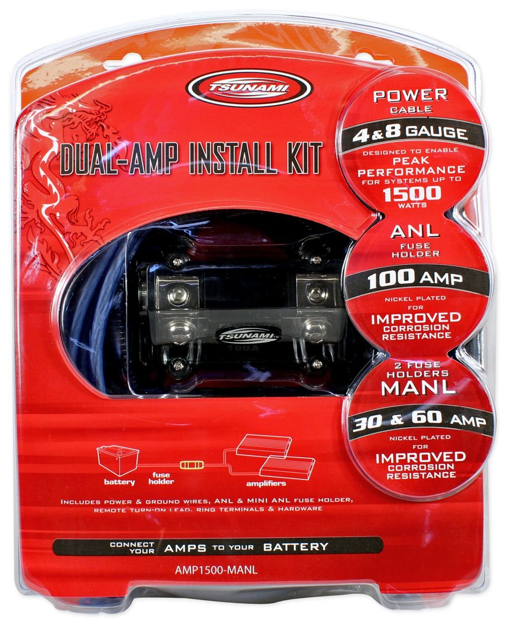 Tsunami Amp1500 Manl 4 Gauge Dual Amplifier Amp Car Wiring Kit Audio Wire Installation Designed For Systems Up To 1500 Watts Electronics